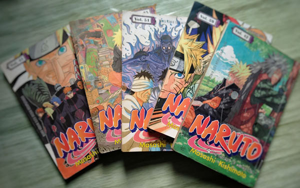 """Yogyakarta, Indonesia, August 21, 2020. Five comics """"Naruto"""" . Naruto is a fictional character from Japan who tries to save his village from enemies"""