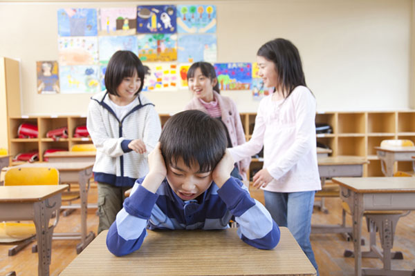 Primary Japanese boy suffering bullying