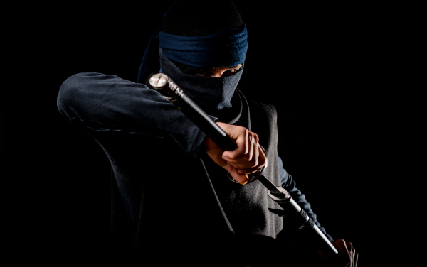 A fighting ninja